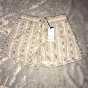 Love Riche Small taupe striped elastic shorts NEW
